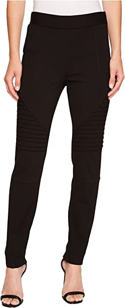 TWO by Vince Camuto - Ponte Moto Leggings w/ Trapunto Inserts