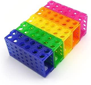 Heathrow Scientific HS29022G 4 Way Tube Rack, Polypropylene, Assorted Colors, Blue, Green, Pink, Yellow, Orange (Pack of 5)