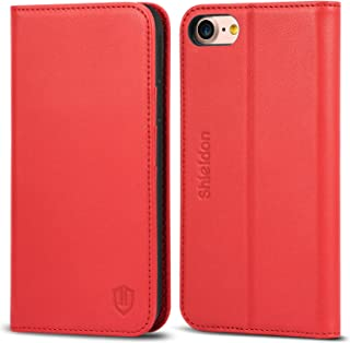 SHIELDON iPhone 8 Case, iPhone 8 Wallet Case, Genuine Leather iPhone 7 Flip Book Design with Kickstand ID Card Slot Magnetic Closure TPU Shockproof Case Compatible with iPhone 7 8 - Red