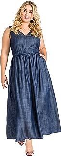 Standards & Practices Plus Size Women's V-Neck A-Line Tencel Denim Maxi Dress