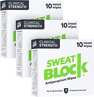 Sweatblock Clinical Strength Antiperspirant Wipes for Hyperhidrosis (3 Box Deal) - Reduce Sweat Up To 7-days Per Use - Ant...