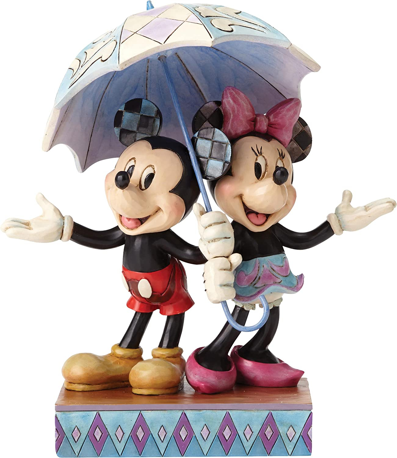"""Disney Traditions by Jim Shore Minnie Mouse and Mickey Mouse Umbrella Stone Resin Figurine, 7.75"""""""