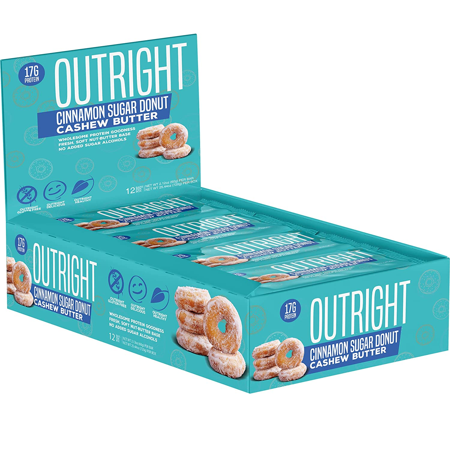 Outright Bar - Whole Food Protein Bar - 12 Pack - Cinnamon Sugar Donut Cashew Butter