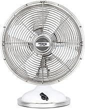 H.Koenig Ventilateur électrique de table JOE50 Silencieux Design Rétro Vintage en métal Blanc, Résistant, 3 vitesses, Fixe...