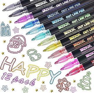Lot de 12 stylos à contour double ligne - 12 couleurs de contour, stylos à paillettes à deux lignes, marqueurs pour dessin...