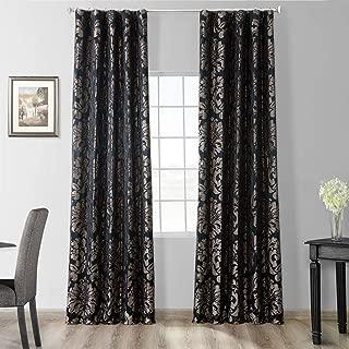 HPD Half Price Drapes JQCH-201301-96 Astoria Faux Silk Jacquard Curtain, 50 X 96, Black/Pewter