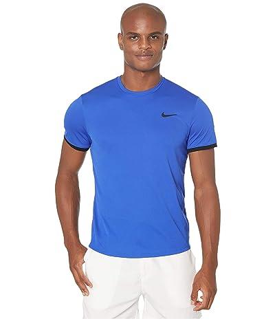 Nike NikeCourt Dri-FIT Short Sleeve Tennis Top (Game Royal/Black/Black) Men