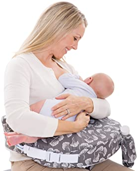 My Brest Friend Original Nursing Posture Pillow, Grey Flowing Fans