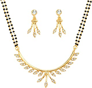 Touchstone gold tone Indian bollywood ethnic white rhinestones pretty mangalsutra necklace set jewelry for women