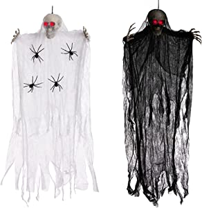 JOYIN 2 Pack 40'' Lighted Halloween Hanging Ghosts, Skeleton Grim Reapers with LED Eyes, Scary Flying Ghosts for Halloween Yard Patio Lawn Garden Outdoor Decoration Halloween Party Decor