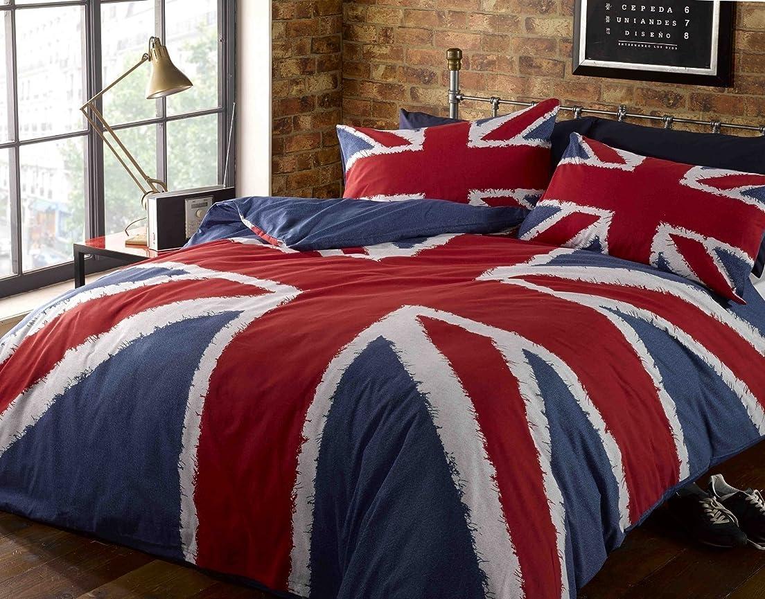 してはいけませんパットあいまいSingle Duvet Cover & P/case Bed Set Navy Blue Red Union Jack Printed Bedding