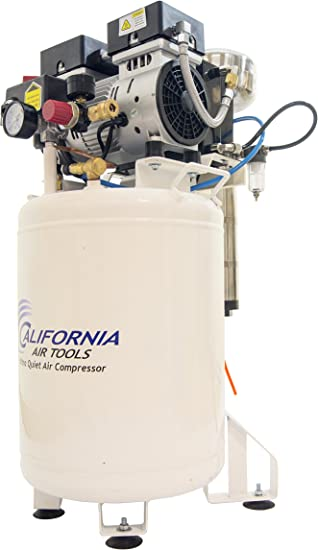 California Air Tools 10010LFDCAD Ultra Quiet & Oil-Free 1 hp Industrial Tank Air Compressor with Drying System & Auto Drain Valve, 10 gallon: image