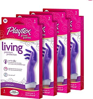 Playtex Living Reuseable Rubber Cleaning Gloves, Medium (Pack - 4)
