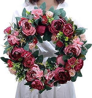 ACAMPTAR White Artificial Camellia Wreath Door Decoration Flower Aarrangement Wreaths Decoration Wedding Hanging Spring Wreath Ring Round Home Decor 40cm