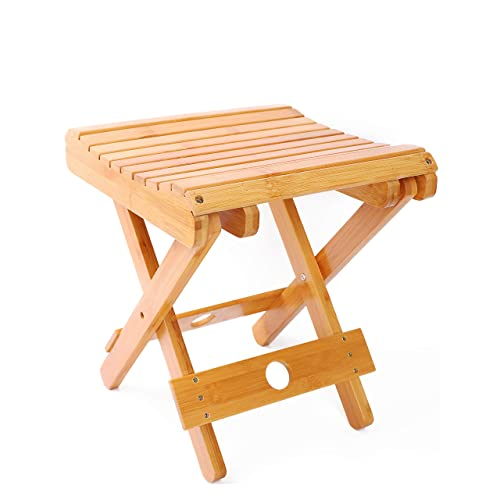 YUHUAWYH Bamboo Small Shower Seat Foldable Little Shower Stool for Shaving Legs 12.2  Height