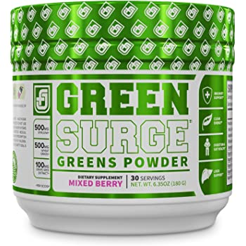 Green Surge Green Superfood Powder Supplement - Keto Friendly Greens Drink w/Spirulina, Wheat & Barley Grass, Organic Greens - Green Tea Extract, Probiotics & Digestive Enzymes - Mixed Berry - 30sv