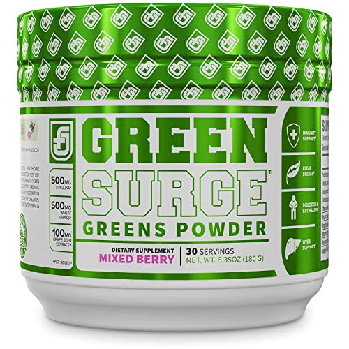 Green Surge Green Superfood Powder Supplement - Keto Friendly Greens Drink w/Spirulina, Wheat & Barley Grass - Green Tea Extract, Probiotics & Digestive Enzymes - Mixed Berry - 30sv