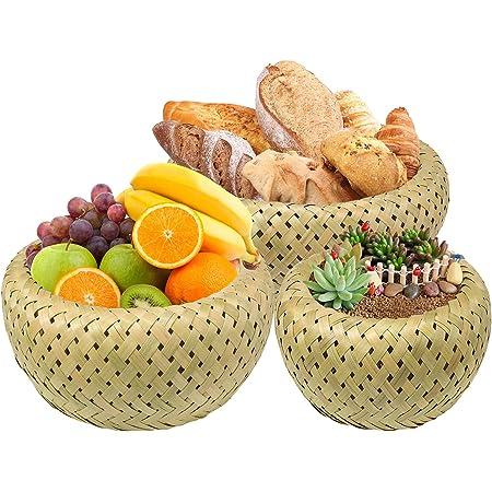 3 pièces / ensemble panier de fruits en bambou fait à la main panier à pain plateau de stockage conteneur rond panier peu profond ménage