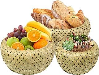3 pièces / ensemble panier de fruits en bambou fait à la main panier à pain plateau de stockage conteneur rond panier peu ...