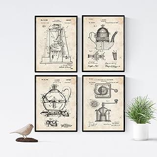 Nacnic Vintage - Pack de 4 Láminas con Patentes de Cafeteras. Set de Posters con inventos y Patentes Antiguas. Elije el Co...