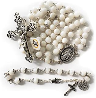 Big A Solutions River Pearl Rosary Beads + Bracelet - Catholic - for Women and Girls - Rosary is Handmade Comes in Velvet Pouch (White/White)