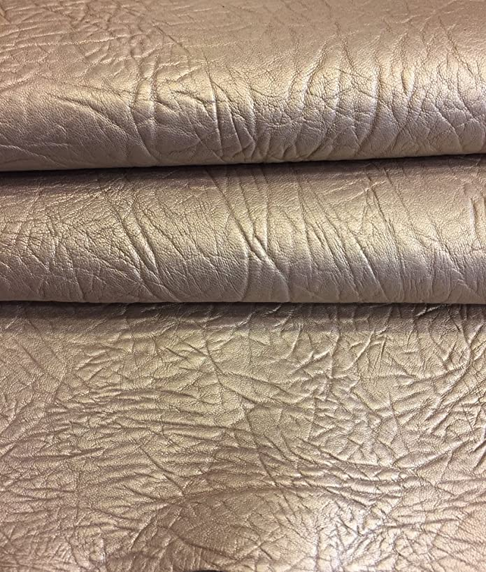 Craft Real Leather Hide – Top Quality Lambskin - Dark Champagne Color - 4 sq ft - AVG 24¨x 22¨ - Pearlescent Finish – Spanish Full Skins – Soft Thin Upholstery Fabric – Home Décor Material