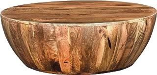 The Urban Port UPT-32180 Mango Wood Coffee Table in Round Shape, Dark Brown