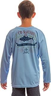 Colorful Rather Be Fishing Youth UPF 50+ UV Sun Protection Performance Long Sleeve T-Shirt