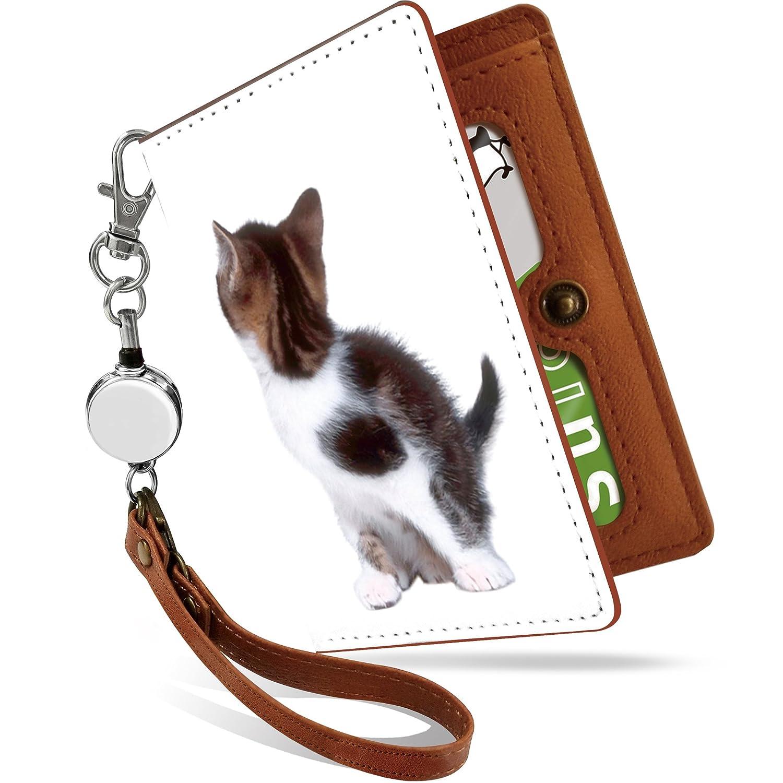 パスケース リール付き 子猫 写真 ワンポイント ねこ柄 シンプル 二つ折り 定期入れ 2枚 3枚 4枚 カードケース カード入れ 可愛い 猫柄 ネコ かわいい [子猫 写真 ワンポイント/ps]