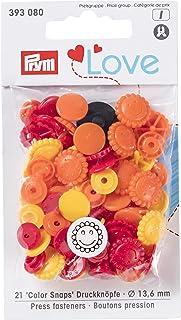 Prym prymlove Flor Forma Non-Sew ColorSnaps Snap Fasteners, plástico, Amarillo/Naranja/Rojo, 13,6mm, 30Piezas