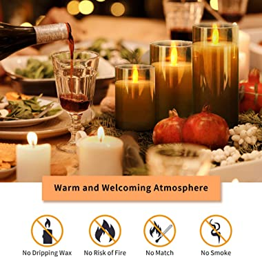 LED Flameless Candle Premium Black Glass with Remote Control Battery Operated Flickering Warm Light LED Pillar Candles Real W