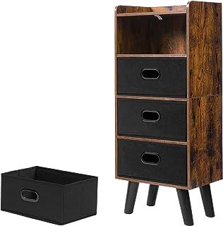 HOOBRO 4 Drawer Chest, Chest Wood Storage Organizer, Dresser Clothes Storage, Fabric Drawer Dresser with 4 Drawers, Clothe...