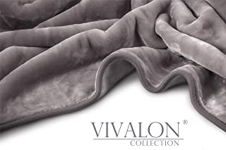 Vivalon Solid Color Ultra Silky Soft Heavy Duty Quality Korean Mink Reversbile Blanket 8 lbs Queen Shark Grey