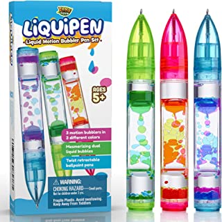 YoYa Toys Liquipen - Liquid Motion Bubbler Pens Sensory Toy (3 Pack) - Writes Like a Regular Pen - Colorful Liquid Timer Pens Great for Stress and Anxiety Relief - Cool Fidget Toys for Kids and Adults