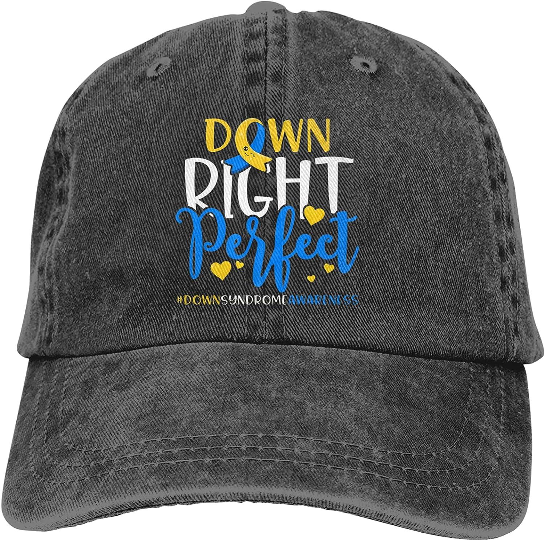 CUTEDWARF Down Syndrome Awareness Down Right Perfect Unisex Adjustable Cotton Baseball Hat Cowboy Cap Dad Hats Denim Trucker Hat