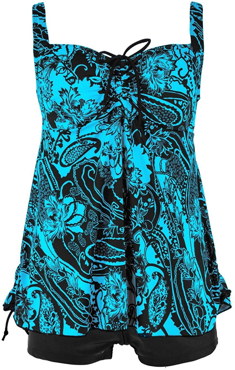 Hilor Women's Plus Size Swimwear Floral Tankini Set Drawtring Modest Two Piece Swimsuit