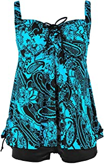 b9a54ff53c Hilor Women s Plus Size Swimwear Floral Tankini Set Drawtring Modest Two  Piece Swimsuit