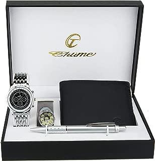 Gift Set Men's Watch Black- LED Lamp - Wallet -Pen
