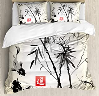 Ambesonne Japanese Duvet Cover Set Queen Size, Artistic Birds Fishes and Bamboo Leaves Abstract Painting Oriental Style, Decorative 3 Piece Bedding Set with 2 Pillow Shams, Black Gray Ivory