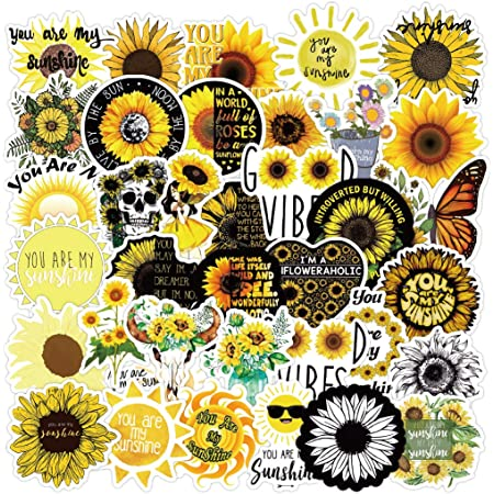 Vinyl Sticker-Bee with Florals and Sunflowers-Cute Stickers-Vinyl Decals-Waterproof Stickers-Minimalistic-Laptop Stickers-