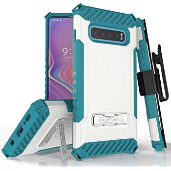 Beyond Cell Trishield Series Compatible with S10+ Case/Military Grade Rugged Cover + [Metal Kickstand]+[Belt Clip Holster] Compatible with Samsung Galaxy S10 Plus (2019)- White
