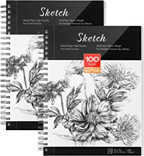 AGPTEK Skissbok, konst skiss bok 23 x 30 cm, 2-pack (68 lb/100 g), spiralbunden med lättviktiga sidor, perfekt för konstnä...