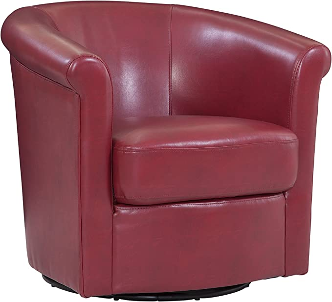 Grafton Home Madison Faux Leather Swivel Barrel Accent Chair One Red Furniture Decor
