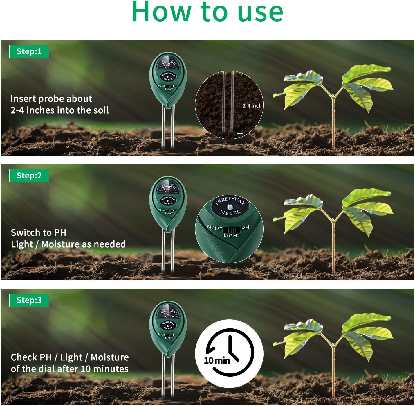 Alkey Soil Moisture MeterHow to Use Instructions