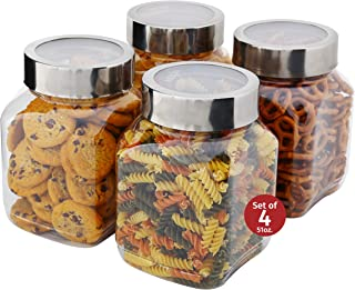 Plastic Storage Jars With Lids; Milton Food Storage Containers 4 Pack 50 oz. Clear Square Lightweight PET Canisters;Wide-Mouth, Airtight Lids Caps; Large Big Clear Empty Multi-Purpose Jars BPA Free