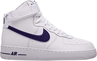 Nike Air Force 1 High '07 3 Mens Sneakers AT4141-103, White/White-Court Purple, Size US 13