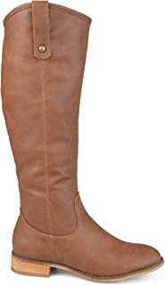 Brinley Co. Womens Faux Leather Regular, Wide and Extra Wide Calf Mid-Calf Round Toe Boots