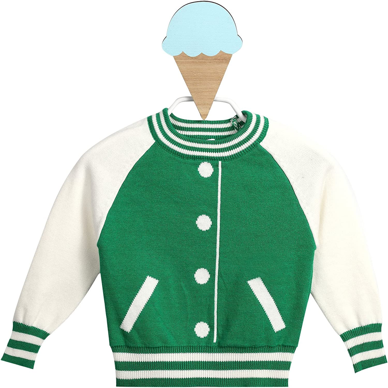Dada And Mama Baby Boys Crew Neck Knit Sweater with Collegiate Details, Green Color