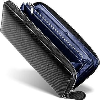 [ GRACE ] 財布 メンズ ラウンドファスナー イタリアン カーボンレザー 長財布