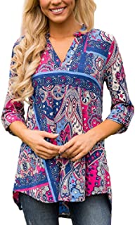 TrendiMax Women Casual Split V Neck Loose Cuffed 3 4 Sleeve Floral Print Tunic Top Blouses (9 Floral Pattern)